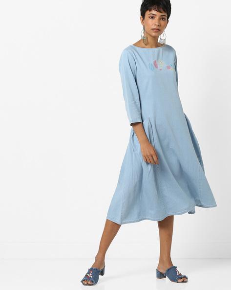 Denim A-line Dress With Insert Pockets By AJIO ( Lightblue )
