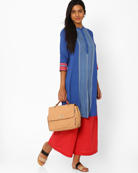 Kurta With Mandarin Collar By Rangriti ( Blue )