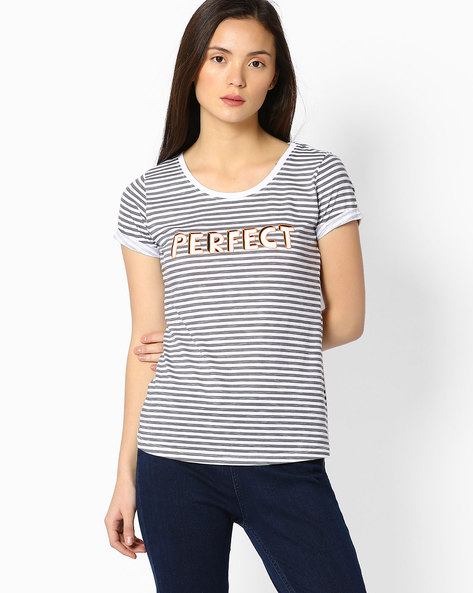 Striped T-shirt With Upturned Hems By TEAM SPIRIT ( Medgrey )
