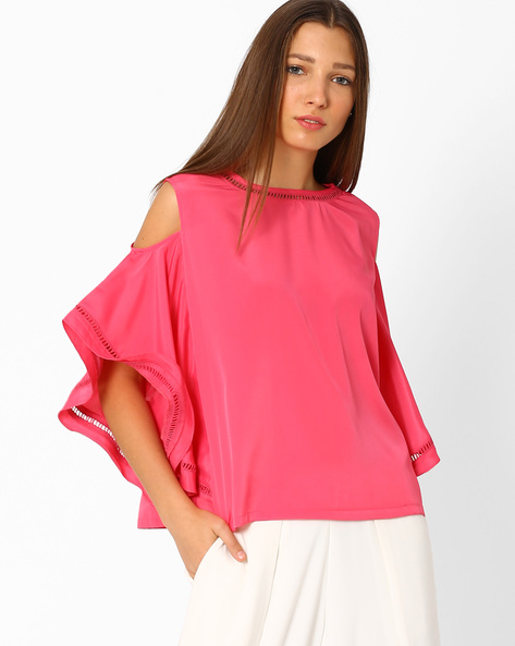 Cold-Shoulder Top With Flutter Sleeves By Lotus Threads ( Pink )