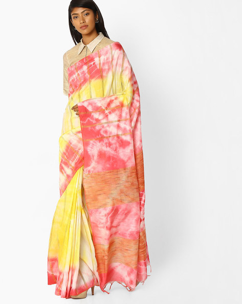 Tie & Dye Saree With Embroidery By Pihu ( Pink )
