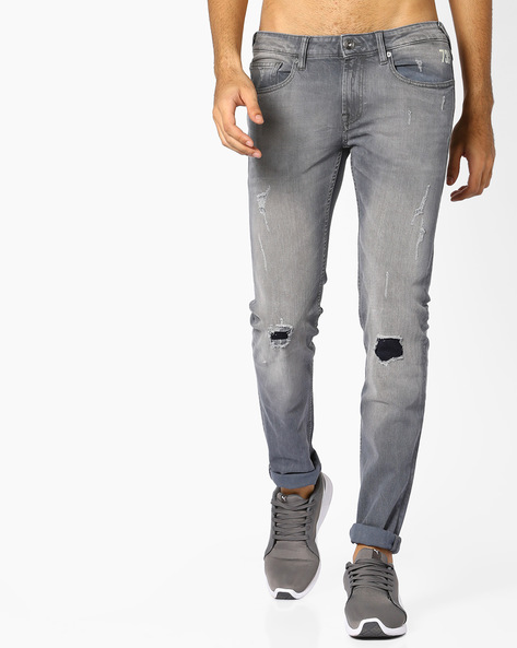Distressed Jeans With Contrast Inserts By Pepe Jeans ( Grey )