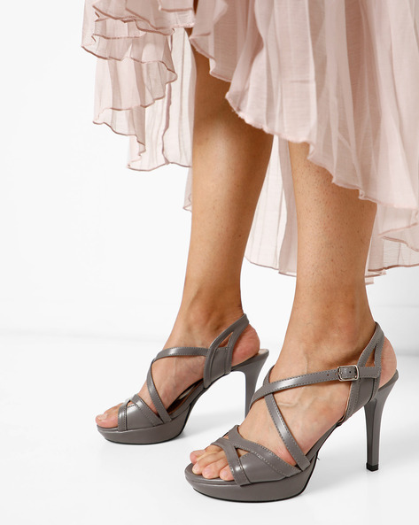 Strappy Stilettoes With Buckle Closure By AJIO ( Grey )
