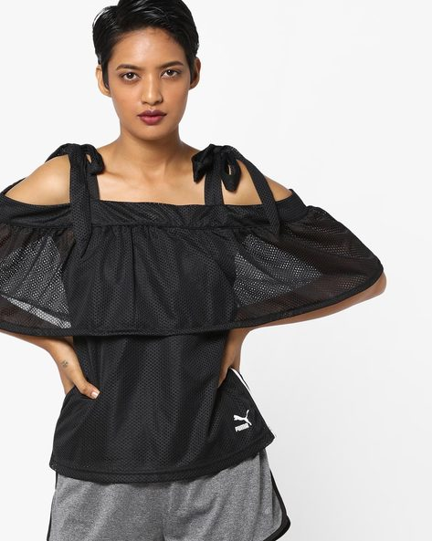Tie-Shoulder Top With Ruffle Layer By Puma ( Black )