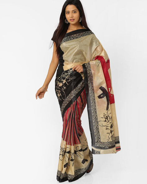 Printed Art Silk Saree By Majestic Silk ( Black )