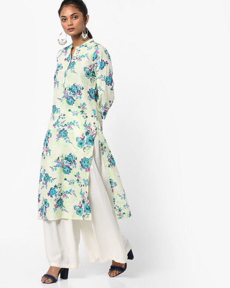 Floral Print Straight Kurta By Melange By Lifestyle ( Turquoise )