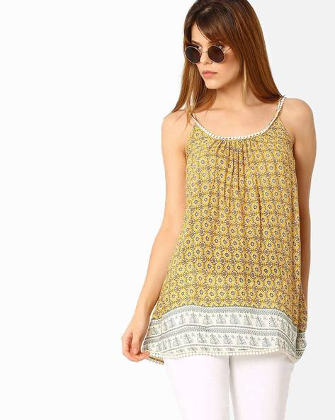 Printed Strappy Top By Oxolloxo ( Yellow )