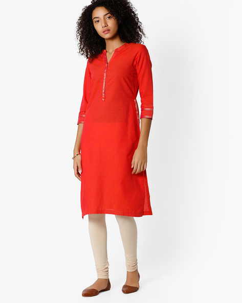 Cotton Kurta With Mandarin Collar By Rangriti ( Pink )