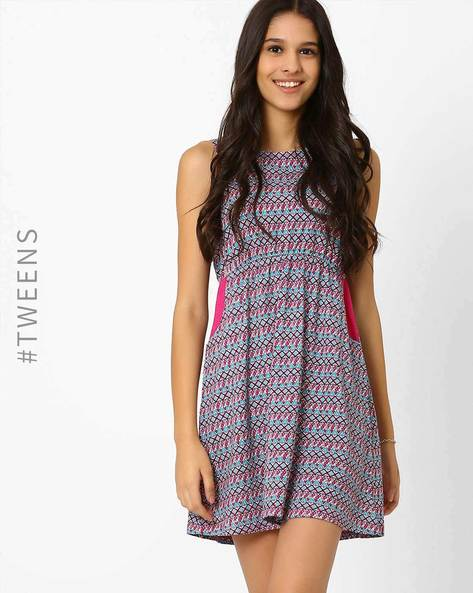 Aztec Print Fit & Flare Dress By AJIO Girl ( Pink )