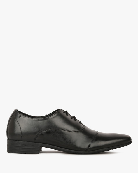 Lace-Up Leather Oxford Shoes By HUNTERS BAY ( Black )