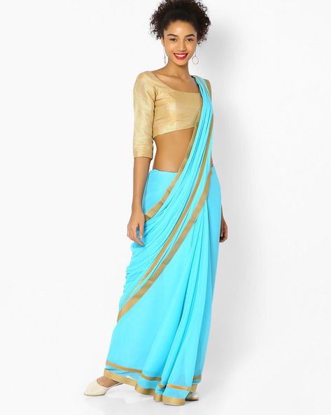 Chiffon Saree With Contrast Border By Vastrangi ( Skyblue )