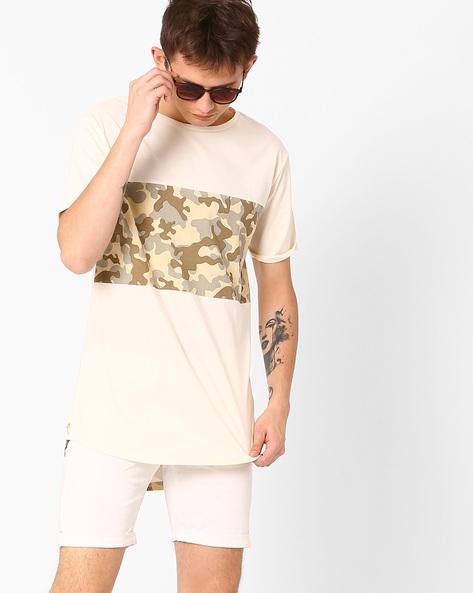 Printed Longline T-shirt By AJIO ( Offwhite )