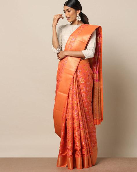 South Silk Patola Check Saree By Pretty Woman ( Peach )