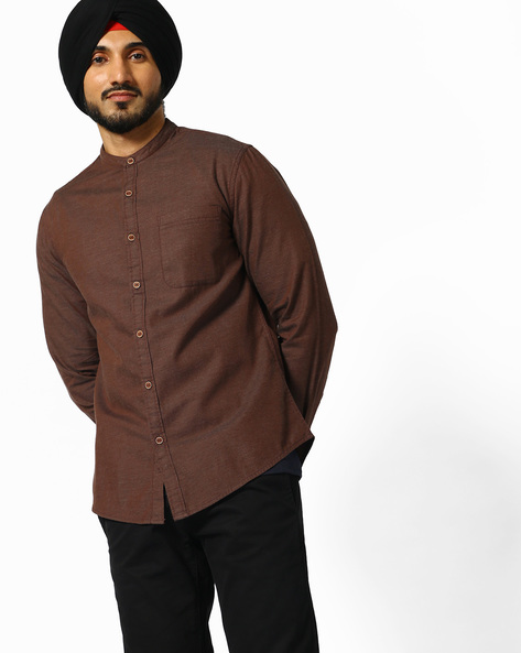 Slim Fit Shirt With Band Collar By AJIO ( Brown )