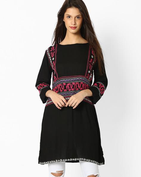 Straight Tunic With Embroidery By Shakumbhari ( Black )