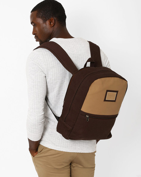 Colourblock Backpack With Padded Straps By FAMOZI ( Brown )