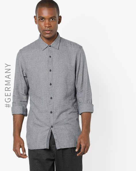 Cotton Shirt With Spread Collar By Tom Tailor ( Blue ) - 460149253001