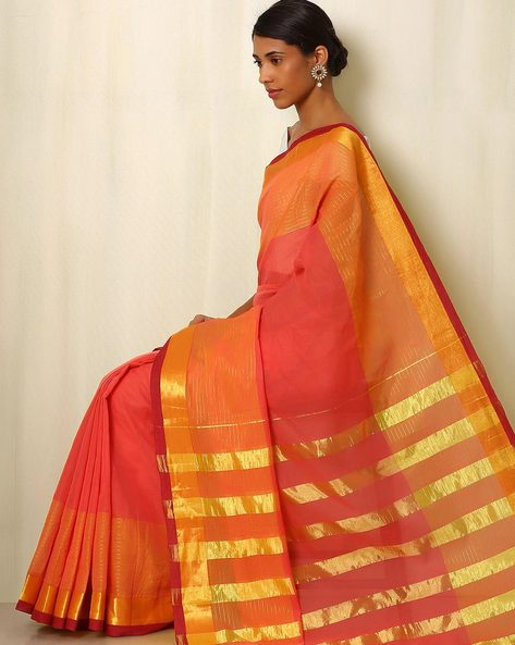 Mercerised Cotton Saree With Zari By Indie Picks ( Peach )