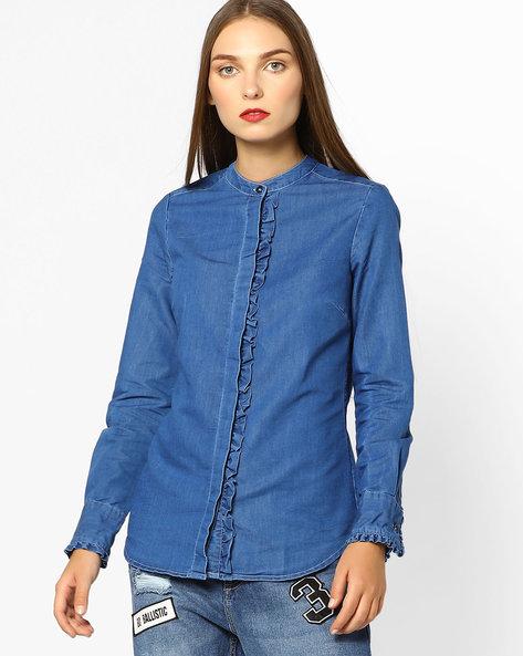 Ruffled Denim Shirt With Band Collar By AJIO ( Blue )