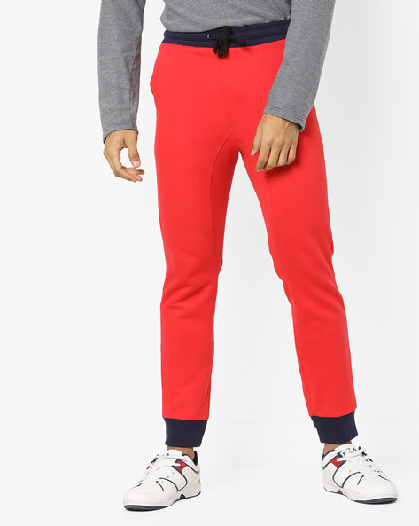 Track Pants With Contrast Elasticated Waist By UNITED COLORS OF BENETTON ( Red )