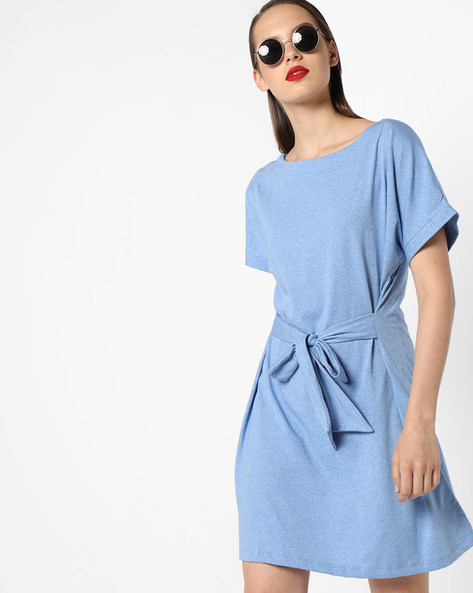 Shift Dress With Tie-Up By AJIO ( Blue )