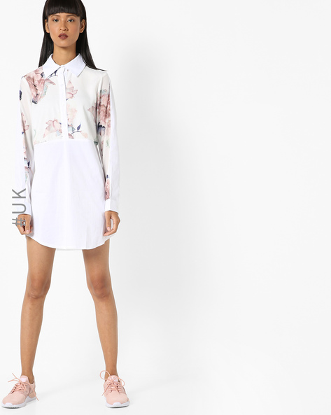 Floral Print Shirt Dress By OEUVRE ( White )