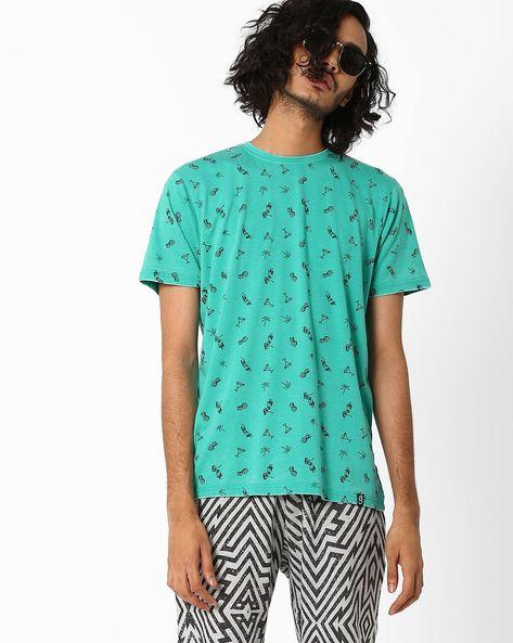 Hawaiian AOP T-shirt By Garcon ( Turquoise )