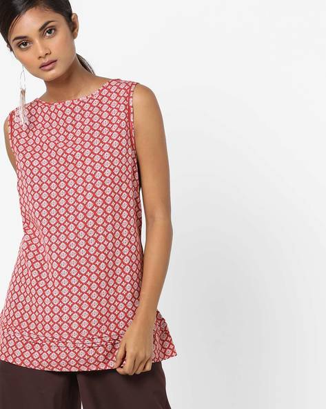 Printed Sleeveless Top By Oxolloxo ( Rust )