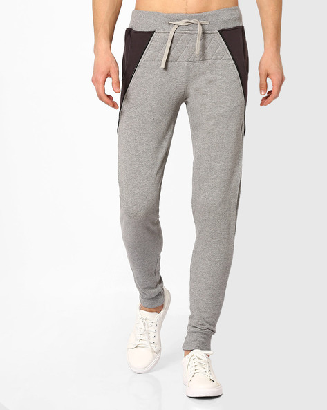Cotton Joggers With Contrast Side Panels By KULTPRIT ( Grey )