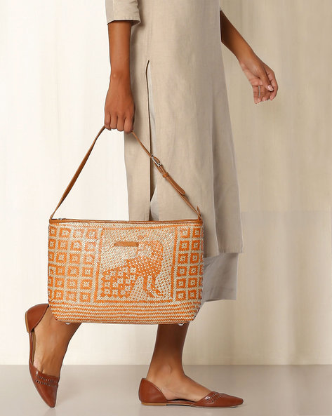 Handcrafted Natural Fibre Peacock Tote Bag By Indie Picks ( Orange )
