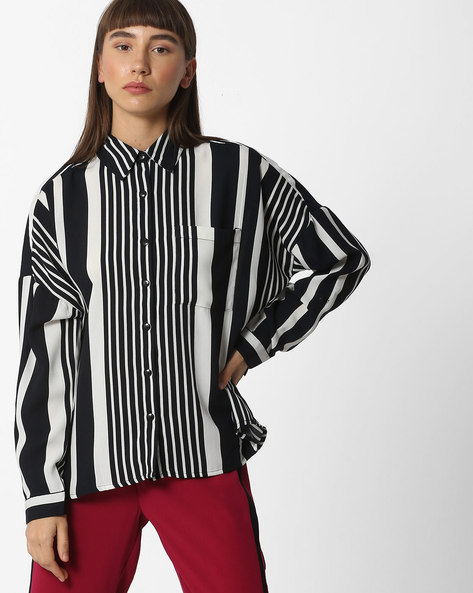 Drop-Shoulder Striped Shirt With Patch Pocket By Oxolloxo ( Black )