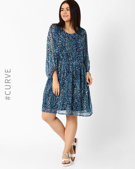 Printed Fit & Flare Dress By Oxolloxo ( Blue )