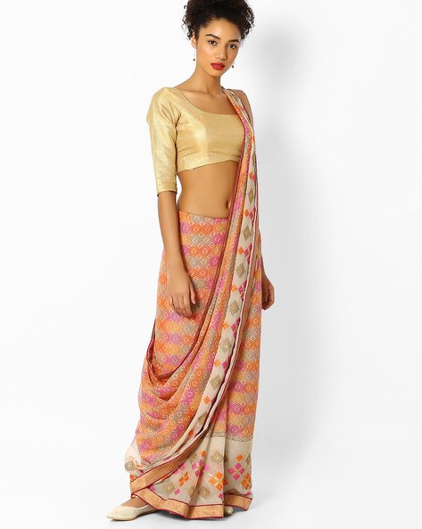 Printed Saree With Embroidery By Parmita ( Pink ) - 460097725001