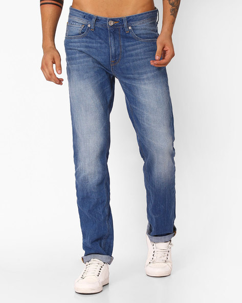 Mid-Wash Slim Jeans By VOI JEANS ( Lightblue )