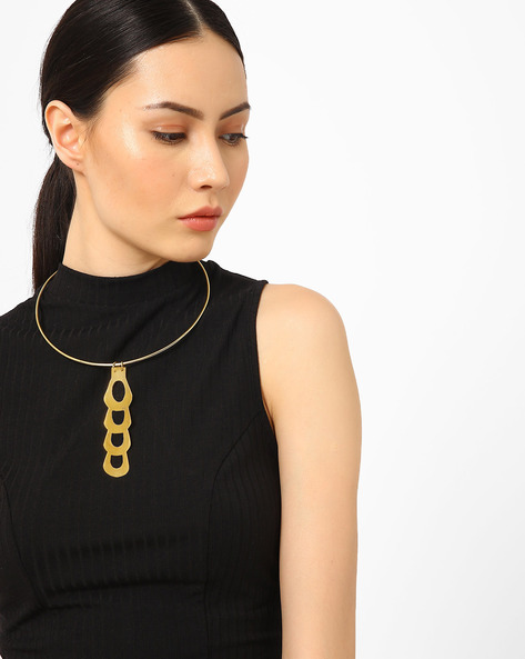 Bib Necklace With Pendant By AJIO ( Gold )