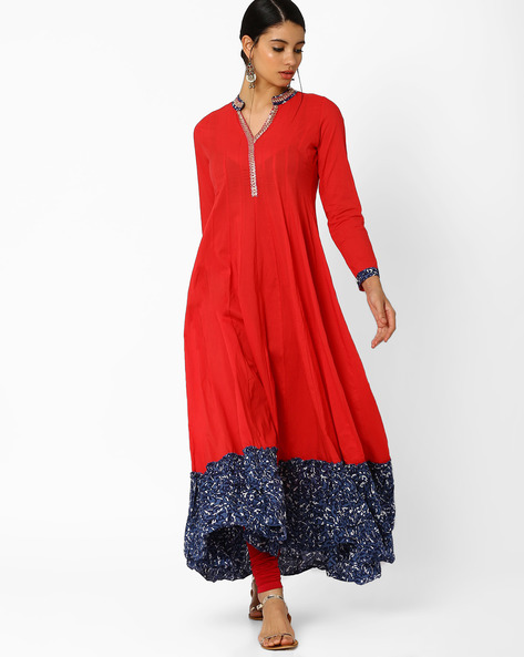 Anarkali Kurta With Zari Embroidery By AJIO ( Red )