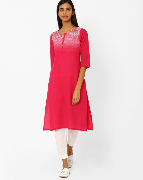 Cotton Straight Kurta By AURELIA ( Pink )