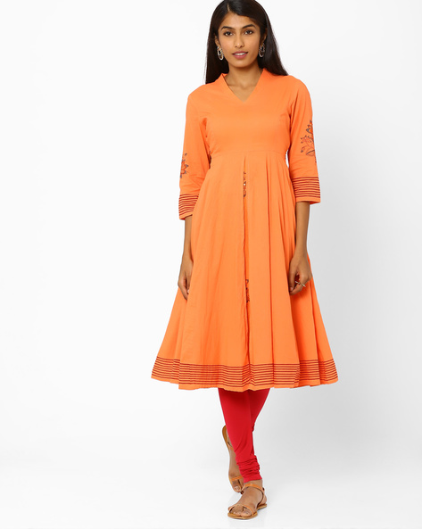 Fit & Flare Dress With Floral Motifs By AJIO ( Peach )