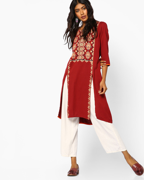 Floral Print Kurta With Slits By Melange By Lifestyle ( Rust )