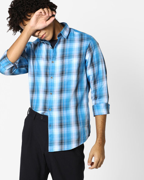 Yarn-Dyed Checked Shirt By AJIO ( Navy )