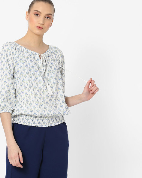 Printed Top With Tie-Up By DNMX ( Offwhite )