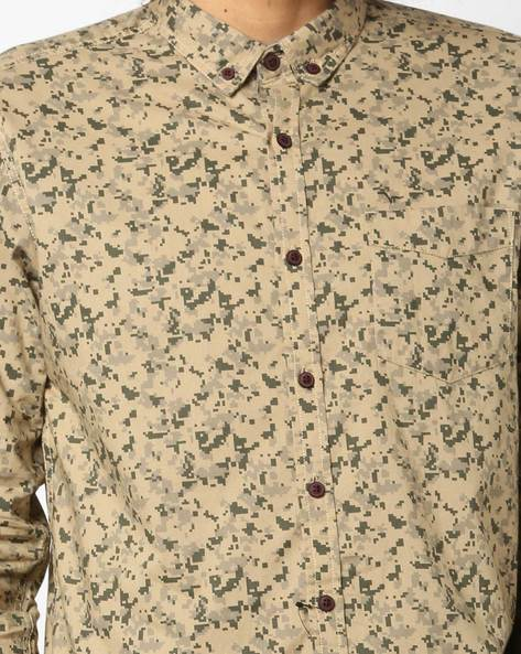 Printed Shirt With Patch Pocket By FLYING MACHINE ( Khaki )