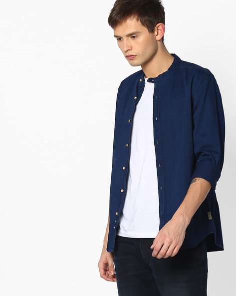 Regular Fit Shirt With Band Collar By FLYING MACHINE ( Navy )