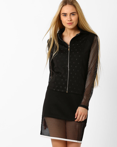 Panelled Jacket With Mesh Sleeves By AJIO ( Black )