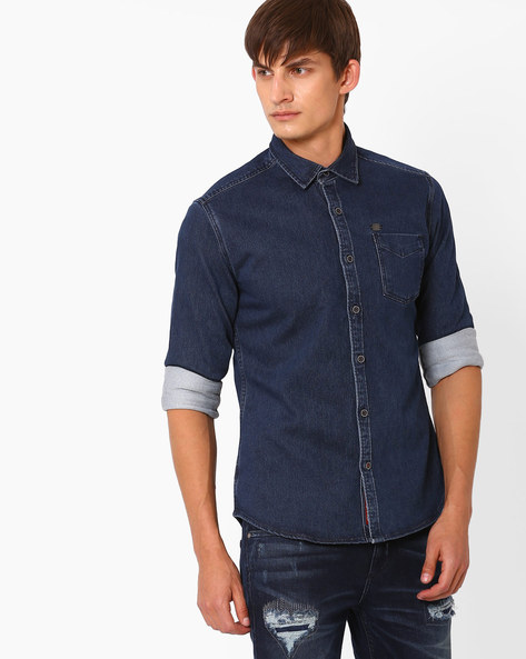 Slim Fit Shirt With Patch Pocket By DNM X ( Blue )