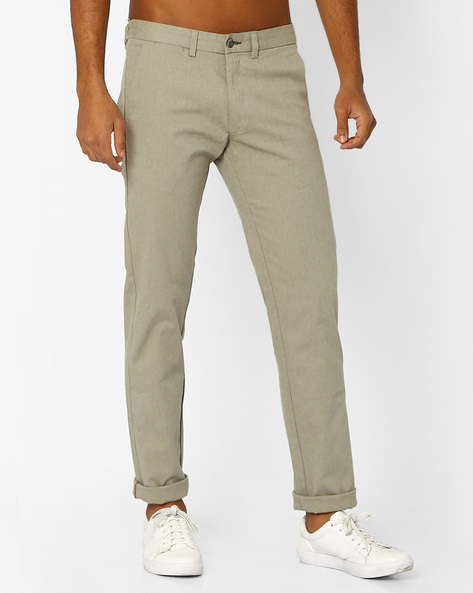 Tapered Fit Flat-Front Trousers By BASICS ( Green )