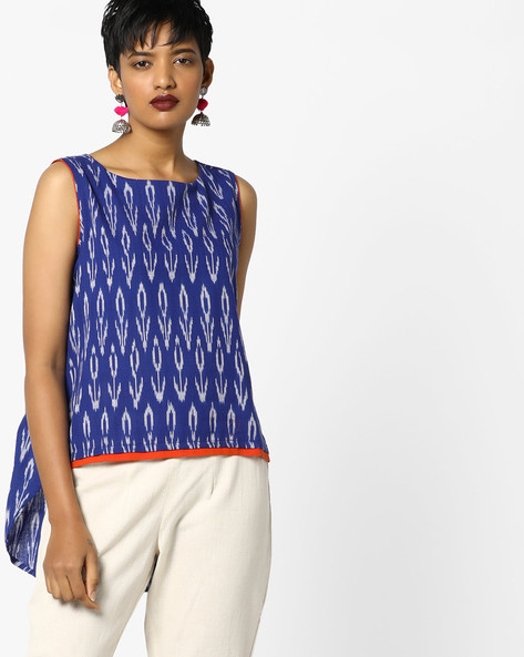 Printed Top With High-Low Hemline By PE IW Fusion ( Blue )