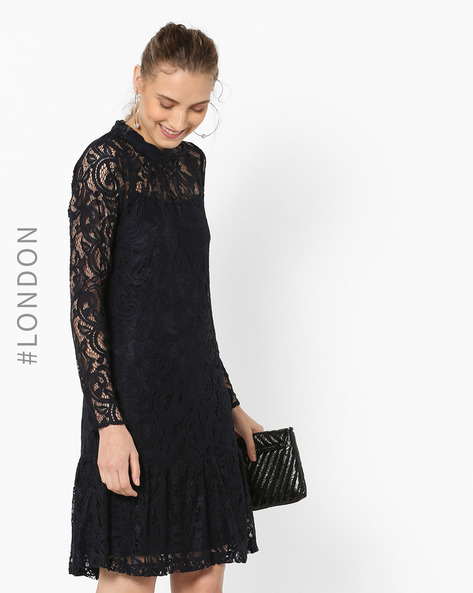Lace Shift Dress With Flounce Hem By Closet London ( Navy )