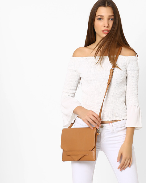 Envelope Clutch With Sling Strap By Pockit ( Tan )