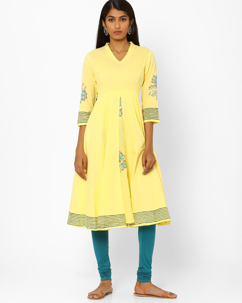Fit & Flare Dress With Floral Motifs By AJIO ( Yellow )